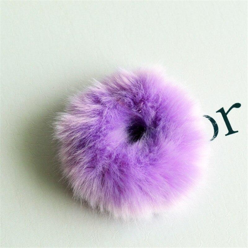 Резинки для волос резинка для волос Милые эластичные резинки для волос для девочек, искусственный мех, резиновое кольцо, веревка, пушистый бант аксессуары для волос, пушистая резинка на голову - Цвет: C7