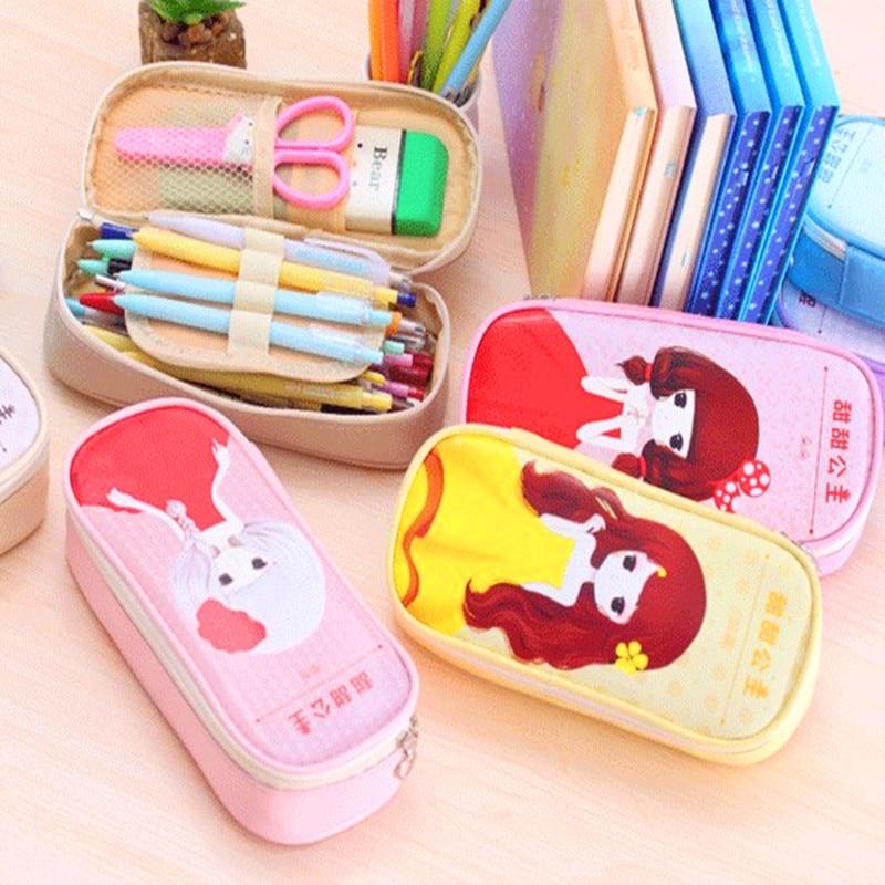 Korea alat tulis tas pena putri manis murni dan segar kapasitas besar PU pensil lucu perlengkapan sekolah baru grosir