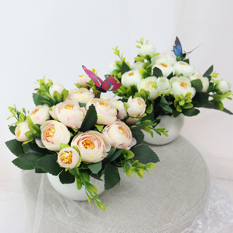 JAROWN Artificial Flowers Rose Quality Ceramics Vase +Silk Flowers Artificial Flower Set Home Decoration Home Flowers Decoration (4)
