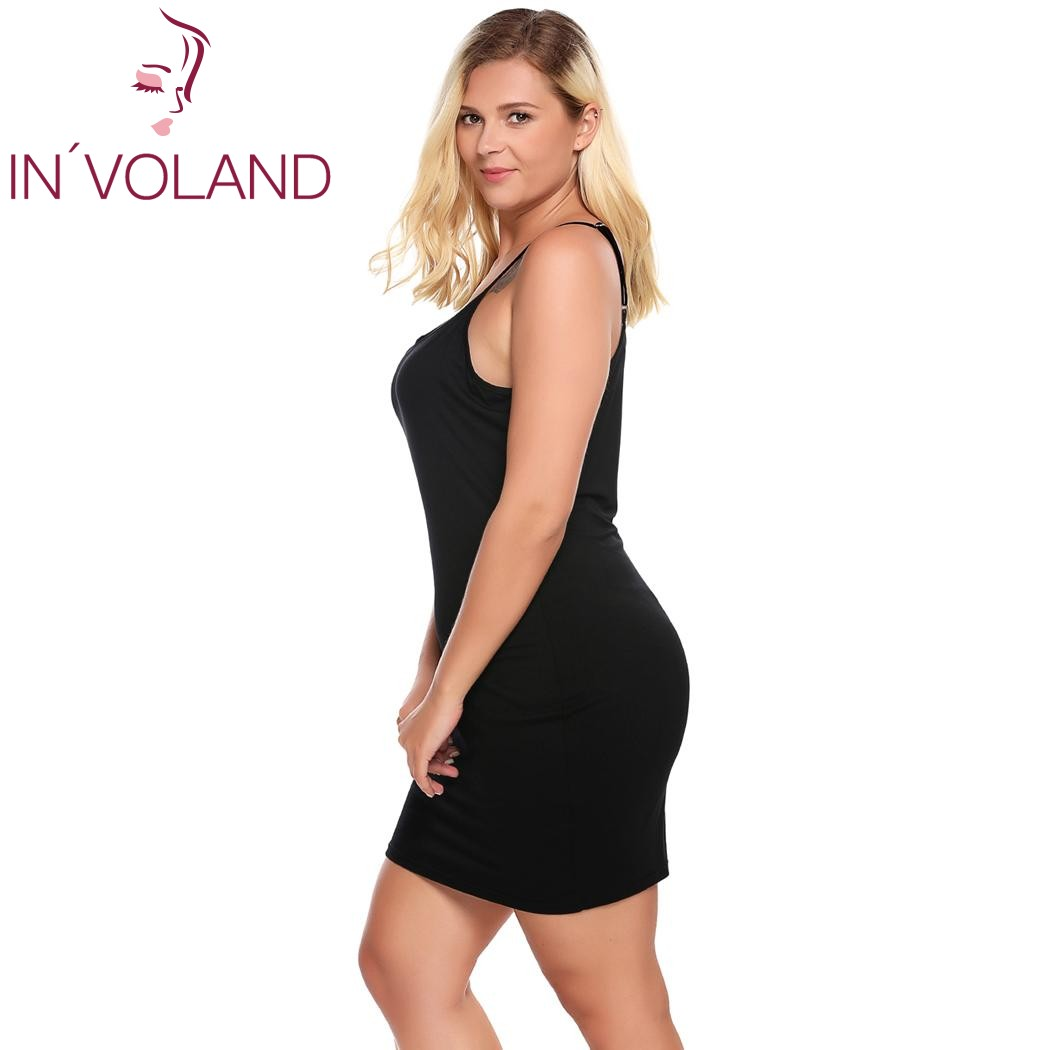 IN'VOLAND Plus Size Women Nightgown Sleepwear Dress Lounge Sexy Adjustable Strap Solid Large Home Sleepshirts Nightwear Big Size 3