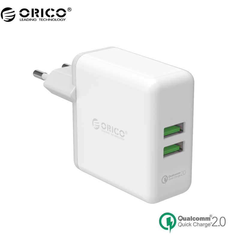 ORICO QCK-2U Dual Ports Quick Charger QC 2.0 USB 36W Max Quick Wall Charger For Phone