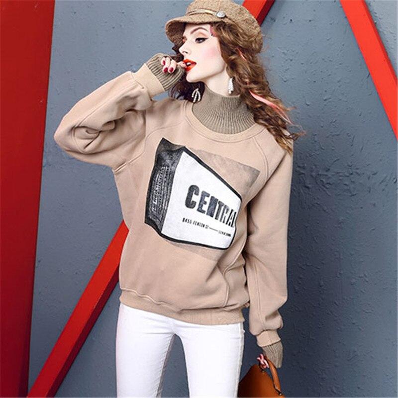 2019 hiver nouveau mode street style col haut femmes manteau impression chauve-souris à manches longues lâche plus velours femme sweat YH392