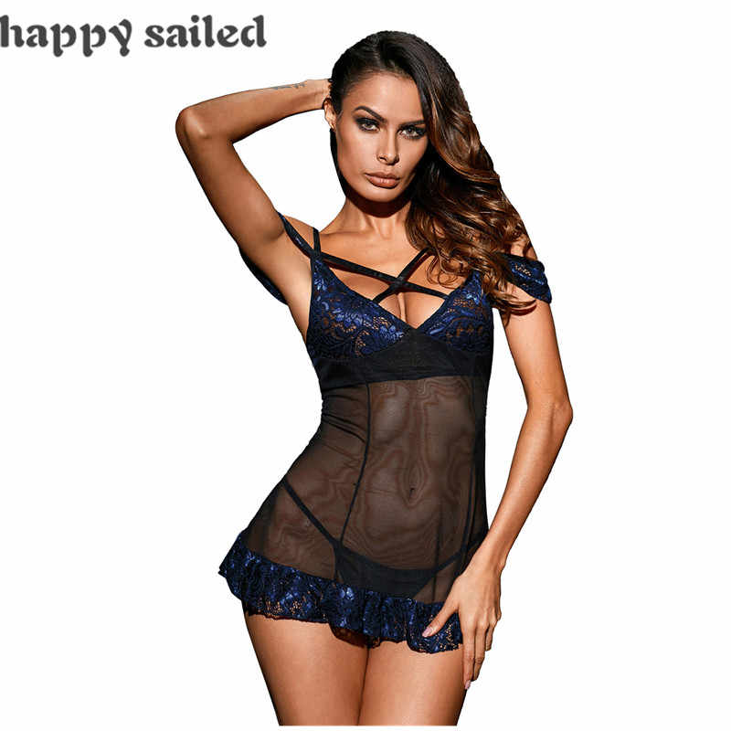 69145177d Happy Sailed sexy costume women Bewitching Mesh Lace Transparent Night  Chemise Dress with G-string