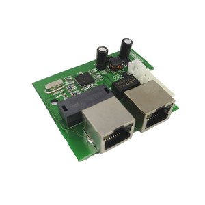 Image 3 - OEM factory direct mini fast 10/100mbps 2 port ethernet network lan hub switch board two layer pcb 2 rj45 1*8pin head port