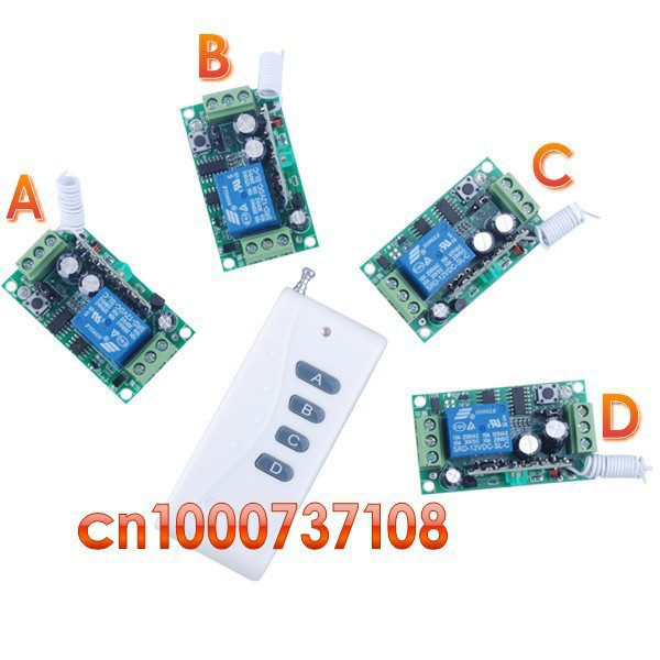 12V 1ch wireless remote control switch system 315/433mhz 1 Transmitter &4 receiver Smart home control system Light z-wave relay smart home z wave 315 433 mhz with ac220v 1ch 10a rf wireless remote control switch system 4 x transmitter 1 x receiver