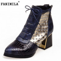 Fashion Pointed Toe Snake Print Cross Tie Ankle Boots 2016 Brand Hoof High Heels Short Boots