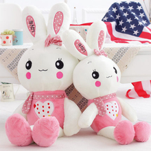 Cute Stuffed Plush Rabbit Toy For Baby Girls Kids Soft Kawaii Toy Children Bedding Pillow Baby Girls Bow Children Toys 70C0116