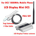Conjunto completo LCD Família DCS Repetidor GSM 1800 MHz Mobile Phone Signal Booster Repetidor Amplificador com antena Interna + Antena Yagi antena