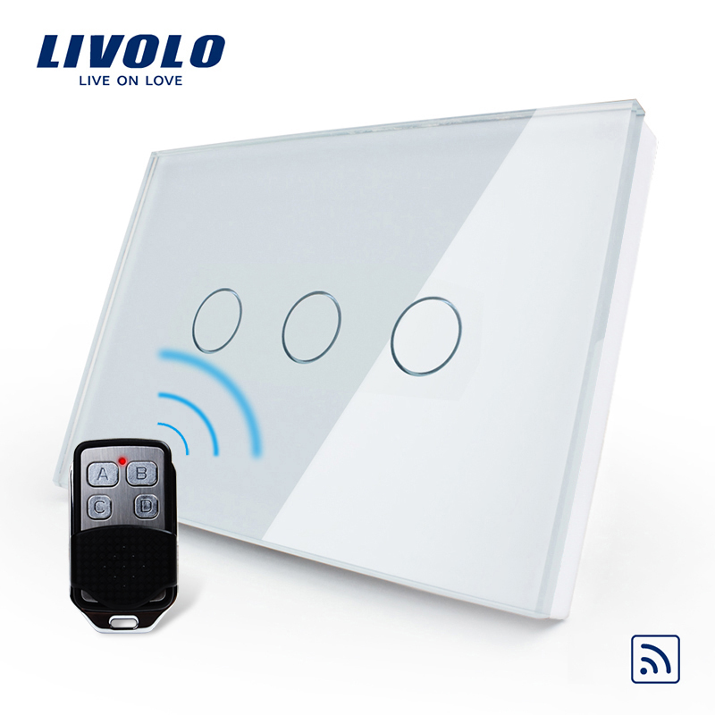 Livolo US/AU Standard, Wireless Switch, VL-C303R-81VL-RMT-02,Crystal Waterproof Glass Touch Screen Light Switch&Mini Remote livolo us au standard 3gang wireless remote touch light switch ac 110 250v crystal white glass vl c303r 81 no remote controll