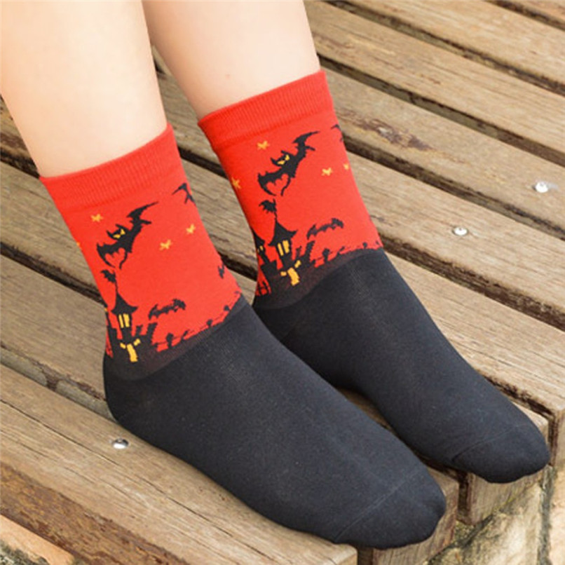 Women's Fashion Sports Socks Medium Work Business Socks Halloween printed Coral Fleece socks Highly elastic warm socks #2s26 (23)