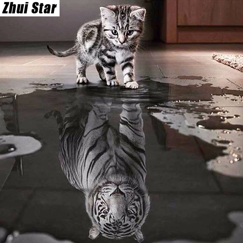 Full Square 5D DIY Diamantmålning Katt Tiger Animal Crystal Broderi Korsstygn Needlework Mosaic Painting Decor Gift VIP