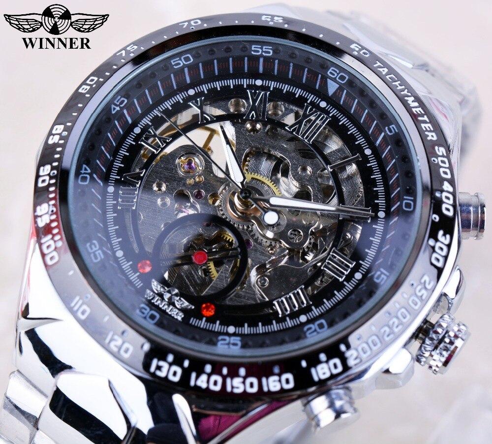 Winner Black Dial Skeleton Mens <font><b>Watches</b></font> Top Brand Luxury Stainless Steel Sport <font><b>Watch</b></font> Montre Homme Clock Men Erkek Kol Saati