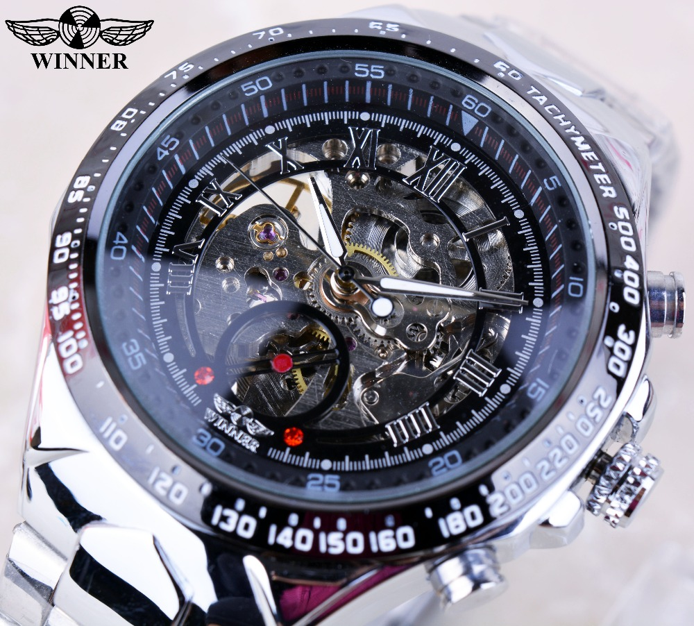 Winner Black Dial Skeleton font b Mens b font Watches Top Brand Luxury Stainless Steel Sport