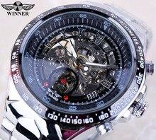 Ganador Skeleton Dial Negro Relojes Para Hombre de Primeras Marcas de Lujo de Acero Inoxidable Reloj Deportivo Montre Homme Reloj Hombre Erkek Kol Saati