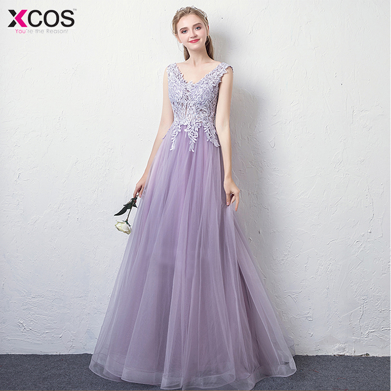 2018 Light Purple   Prom     Dresses   Long Tulle Appliques Evening Gown Party   Dress   Backless gala jurken V Neck vestido longo