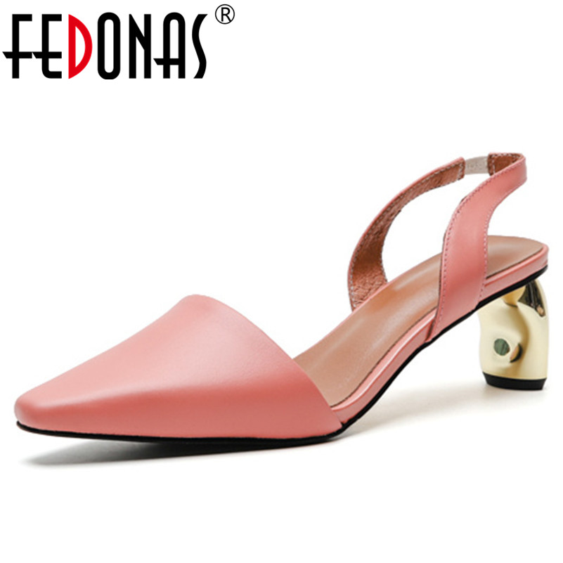 FEDONAS Brand Design Sweet Women Sandals 2019 New Arrival Square Toe High Heels Genuine Leather Party