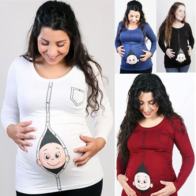 f0376272 Teenster Maternity Clothes Autumn Long Sleeve Funny T Shirt Plus Size Mom  Shirt Maternity Tops Large Pregnancy Tee for Women