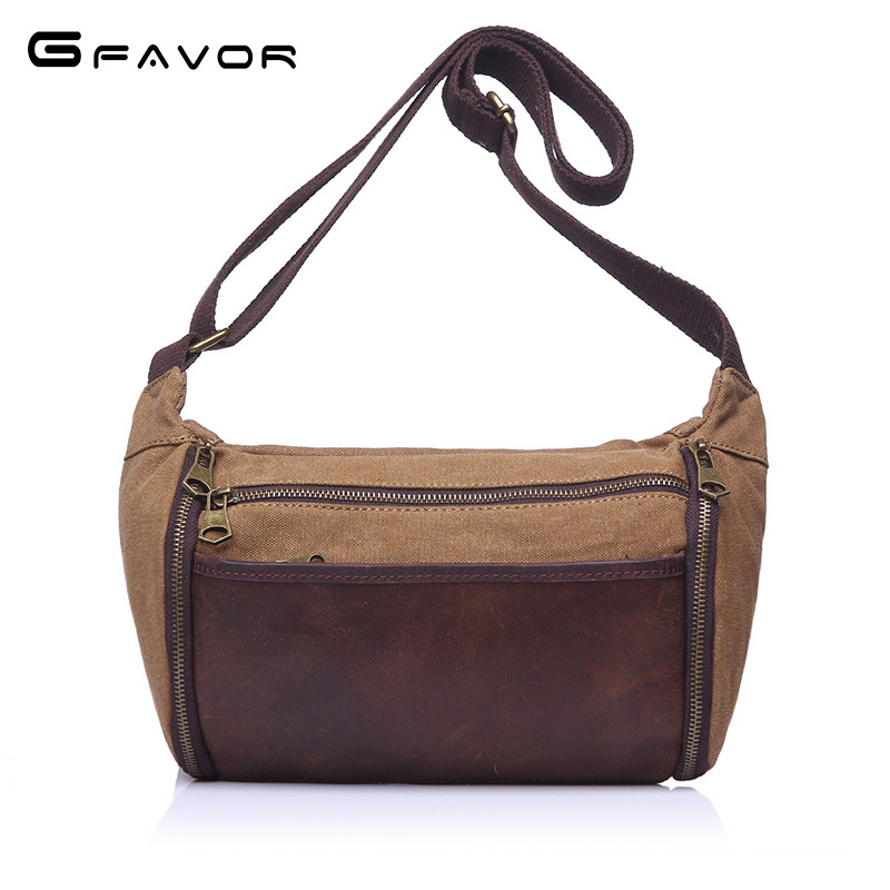 Vintage Canvas Crossbody Bag Men Casual Travel Shoulder Bags Fashion Large Capacity Male Cowhide Leather Zippers Messenger Bags vintage canvas shoulder travel bags men large casual men crossbody messenger travel bag leisure hand luggage travel bags 1062