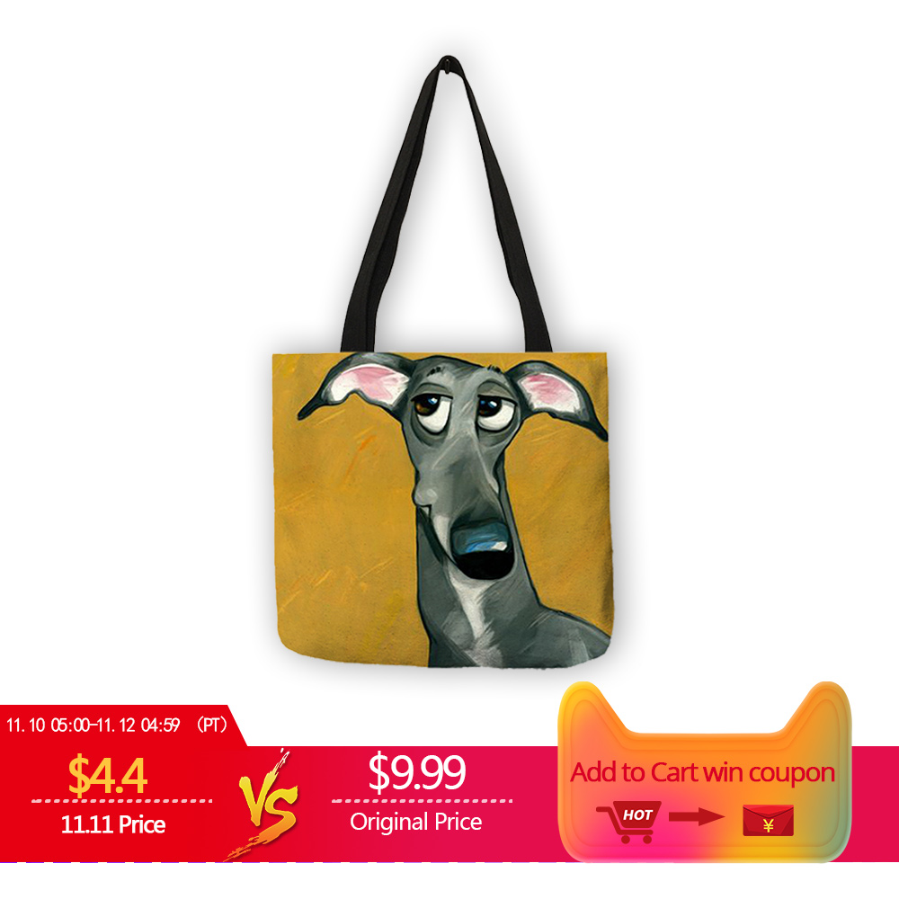 Customize Greyhound Black Dog Print Women Lady Fashion Tote Bag Fabric Handbags Folding Reusable Shopping Bags Pouch 1 bottles temporary airbrush tattoo makeup pearly ink for body art paint 12 colors