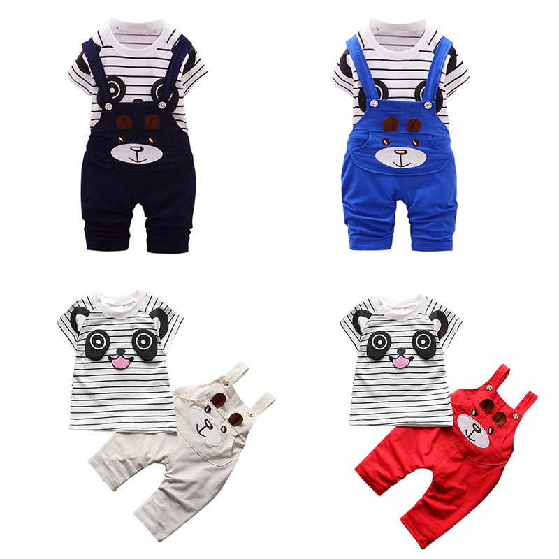 Summer Childrens Clothing Baby Boy And Girl Clothing Set Cute Animal Pattern Short-Sleeved Shirt + Bib Pant Childrens Suit