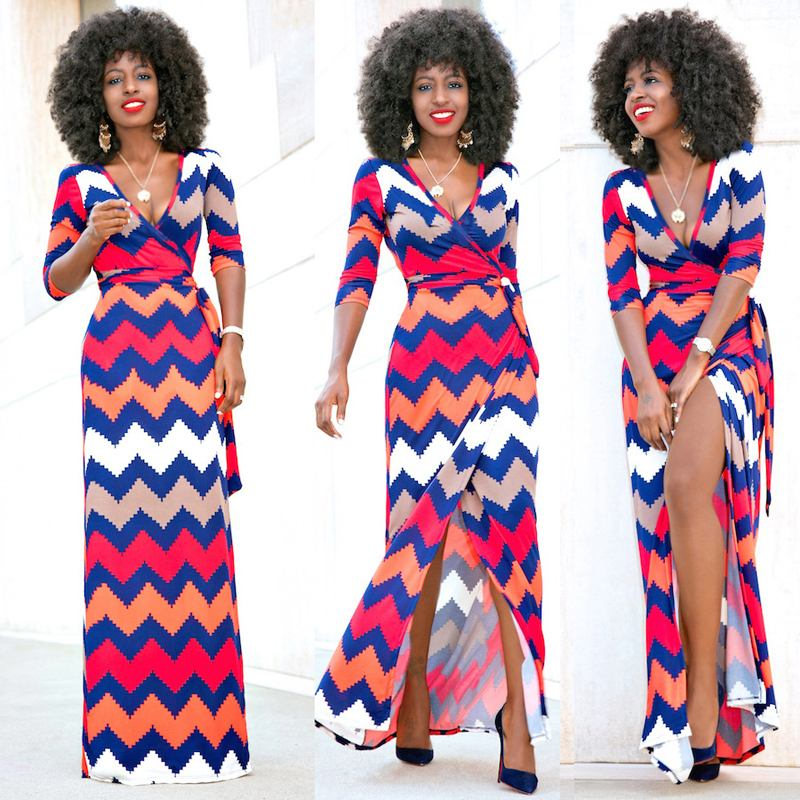 2019 African Clothes African Dresses For Women Bazin Ethnic Traditional Dashiki  Deep V Slit Dress Stripe Wave Dress