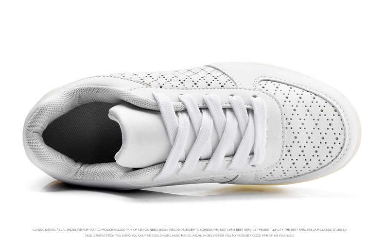 EUR 35-46 נעלי אביב קיץ סניקרס LED צבעוני לילדים ומבוגרים נעליים מזדמנים לנשימה נעלי לבן הזוהר