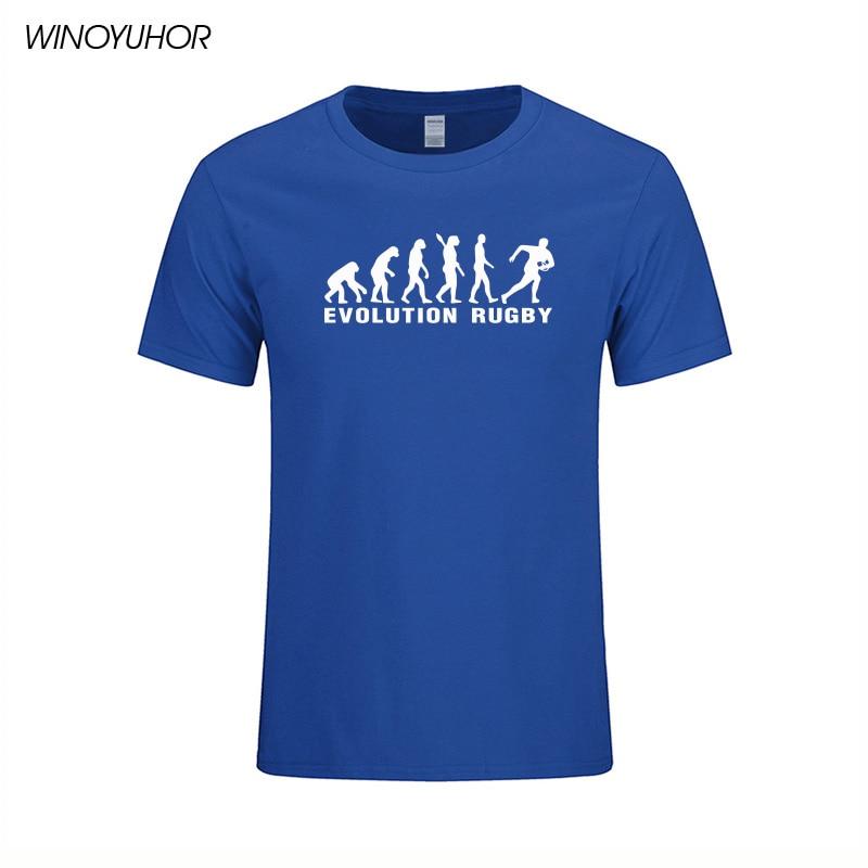 진화 럭비 인쇄 코튼 티셔츠 남성 캐주얼 반소매 티셔츠 펑크 힙합 남성 스포츠 톱스 티셔츠 옴므