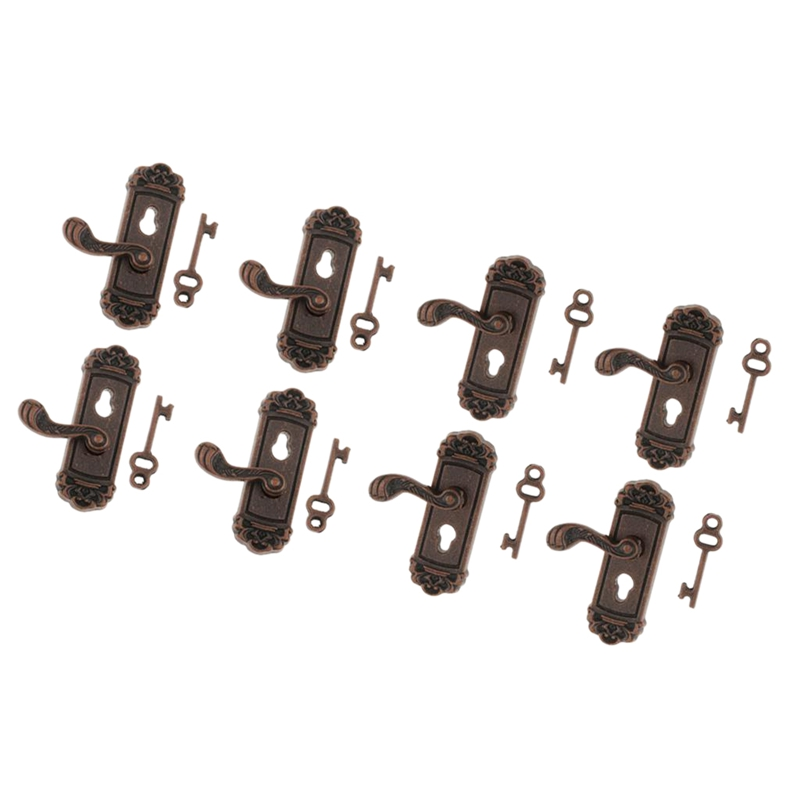 8Pcs <font><b>Doll</b></font> <font><b>House</b></font> Door Lock <font><b>1</b></font>:<font><b>12</b></font> Alloy Retro <font><b>House</b></font> Miniature Door Lock <font><b>Doll</b></font> <font><b>House</b></font> Furniture <font><b>Accessories</b></font> Right Handle Door Lock K image