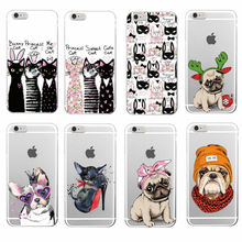 Cute Puppy Pug Bunny Cat Princess Meow French Bulldog Soft Phone Case Cover Coque Funda For iPhone 7 7Plus 6 6S 6Plus