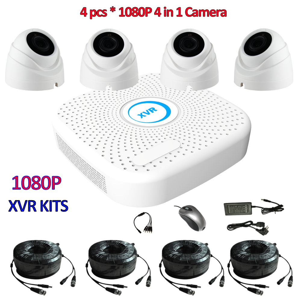 4CH CCTV Kit 1080P Hybrid DVR for AHD-H camera IP recorder ONVIF, CCTV systems for HDCVI HDTVI AHD camera 4in1 2MP cctv camera