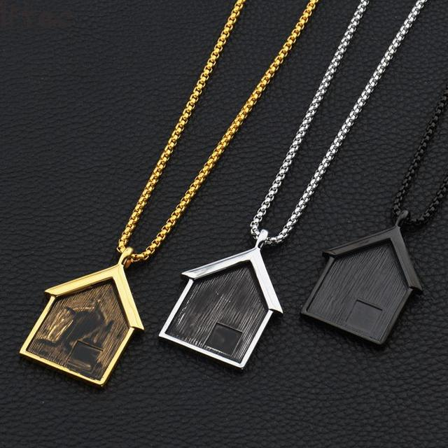 hip hop bijoux hommes collier maison forme pendentif collier en acier inoxydable or noir simple. Black Bedroom Furniture Sets. Home Design Ideas