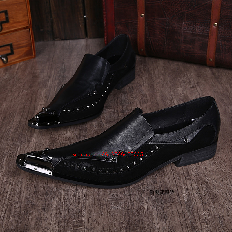 Dos Masculino Pé As Do Sapatas Picture Choudory Vestido Formal Luxo Preto Marcas Dedo Homens Pontas De Italiano Rebites Sapato Sapatos E50q0S
