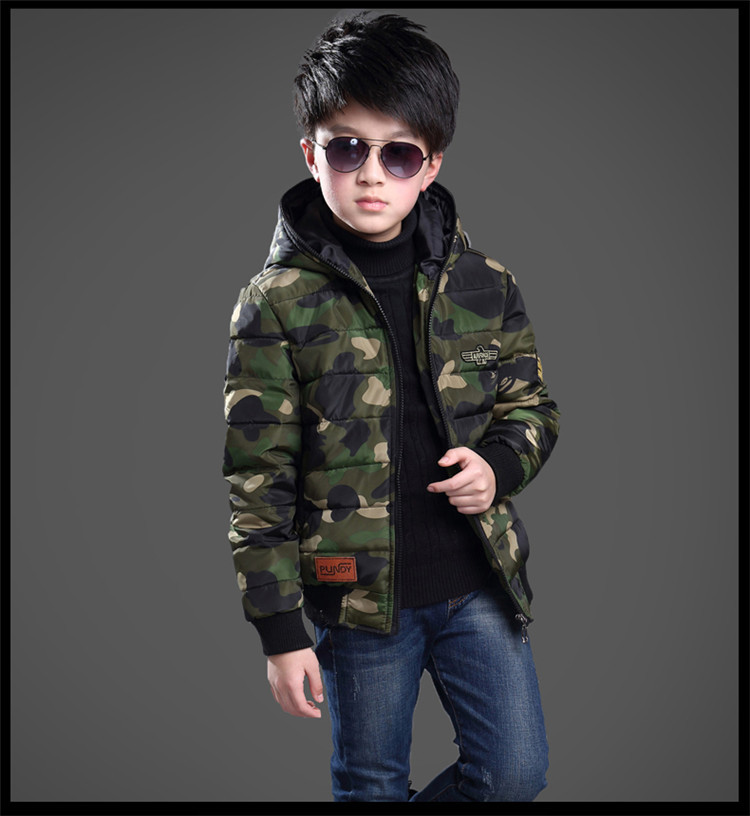 Children's Winter Jackets For Boys Hooded Camouflage Warm Cotton Coat For Young Kids Boy 5-10Y XW casual 2016 winter jacket for boys warm jackets coats outerwears thick hooded down cotton jackets for children boy winter parkas