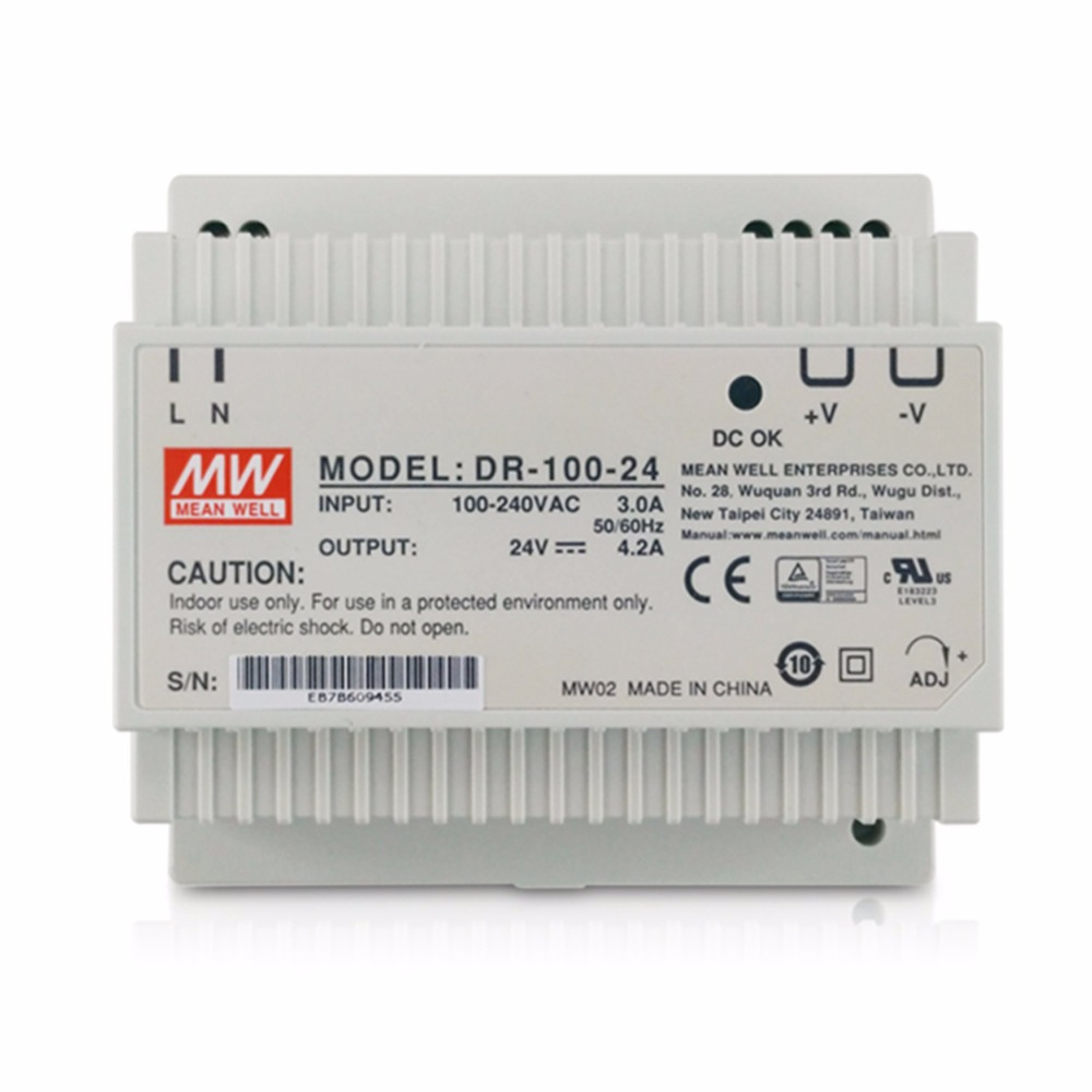 Genuine Meanwell DR-100-24 100 W Uscita Singola 24 V 4.2A Industriale Guida DIN Mean Well potere di alimentazioneGenuine Meanwell DR-100-24 100 W Uscita Singola 24 V 4.2A Industriale Guida DIN Mean Well potere di alimentazione