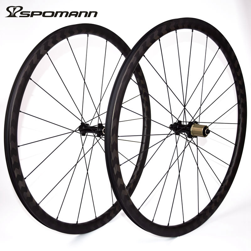 SPOMANN 700C Road font b Bicycle b font Wheelset 15k Carbon Clincher Wheels 30mm depth Carbon