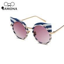 Фотография BAMONA Fashion Cat Eye Sunglasses Women Brand Designer Retro Pierced Female Stripe Sun Glasses oculos de sol feminino UV400
