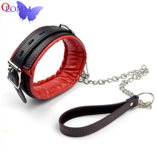 Adult Product BDSM Bondage Set For Women PU Leather Soft Sponge Metal Chain Handcuffs Ankle Cuffs Collar Sex Toys For Sexy Games erotic womens lingerie vintage metal soft sponge sex handcuffs ankle cuffs bondage collar set sex toys for couples bdsm sex
