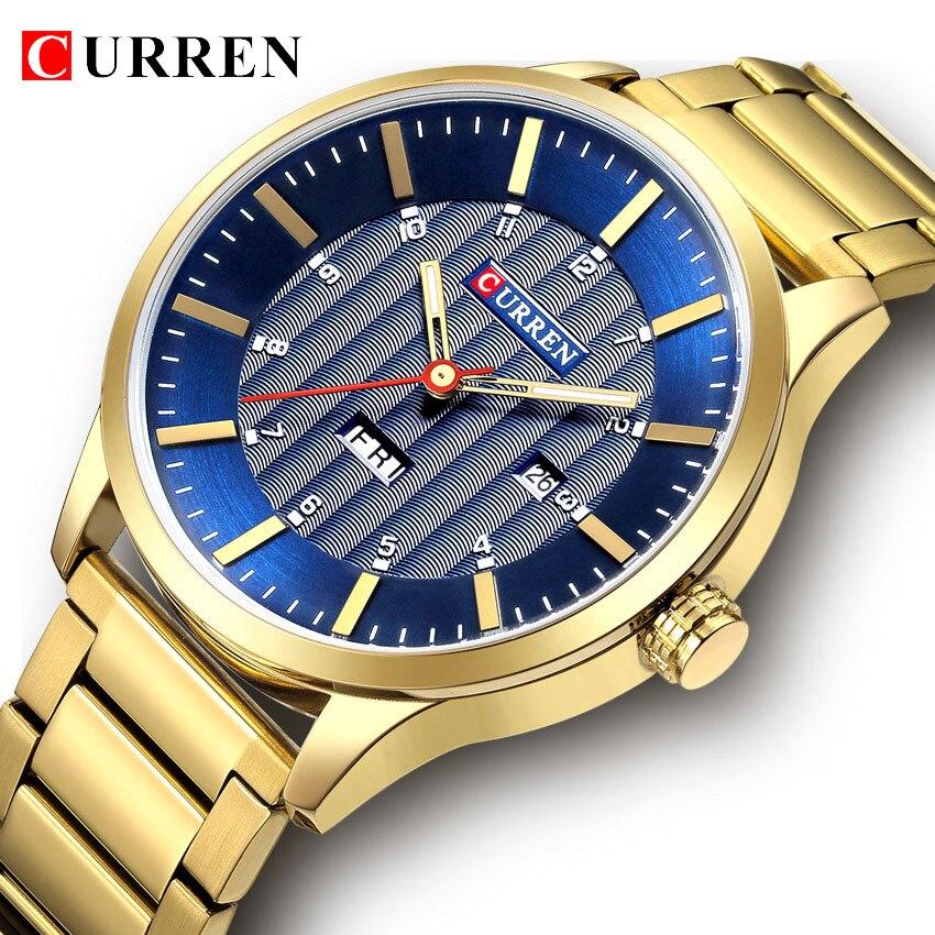 Lujo oro azul real hombres de negocios relojes de cuarzo Curren acero inoxidable de la manera impermeable deporte escribir reloj