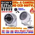 "Mini effio-e-um 1/3 ""sony ccd hd câmera de cctv 960 h 900tvl indoor/outdoor waterproof ip66 infrared d/visão noturna 30 m de vídeo osd meun"