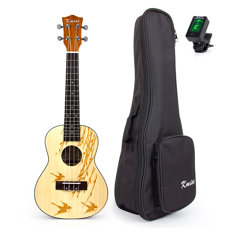 Kmise Concert Ukulele Solid Spruce Ukelele Uke 23 inch 18 Frets 4 String Hawaii Guitar with Gig Bag Tuner soprano concert tenor ukulele bag case backpack fit 21 23 inch ukelele beige guitar accessories parts gig waterproof lithe
