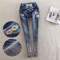 wholesale fashion brand embroidery diamond beading jeans female street style elastic wasit diamond pencil jeans wq2204 dropship