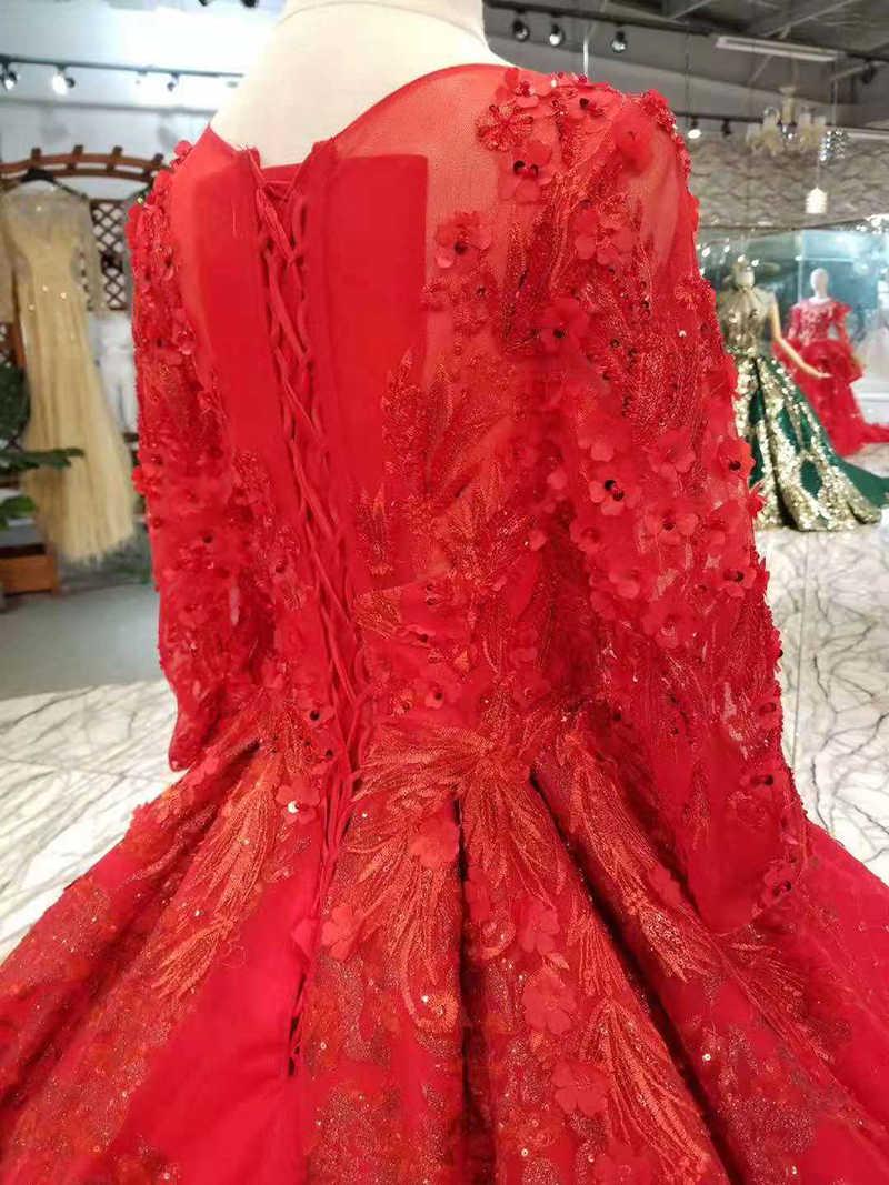 LSS294 אדום כלה מסיבת חתונת שמלה עם רכבת ארוכה אשליה o-צוואר תחרה עד בחזרה חתונת שמלות כדור שמלת נדל מפעל