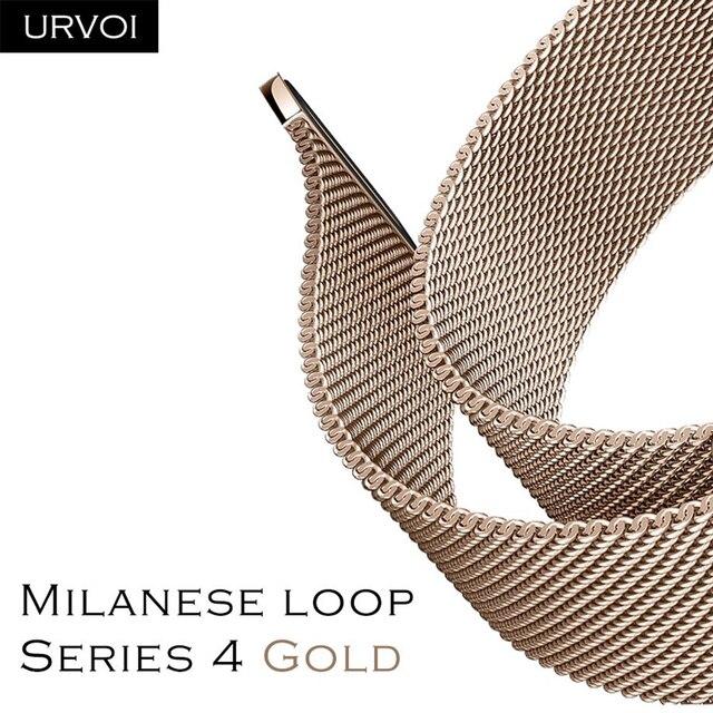 URVOI ממילאנו לולאה סדרת 4 זהב להקת עבור אפל שעון רצועת עבור iwatch נירוסטה מגנטי מתכוונן אבזם עם מתאם