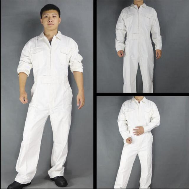 Men's Cotton Jumpsuits One-piece Tide Men's Tooling White Work Overalls Long Sleeve Working Coveralls Workwear Repairman Xs-3xl 1