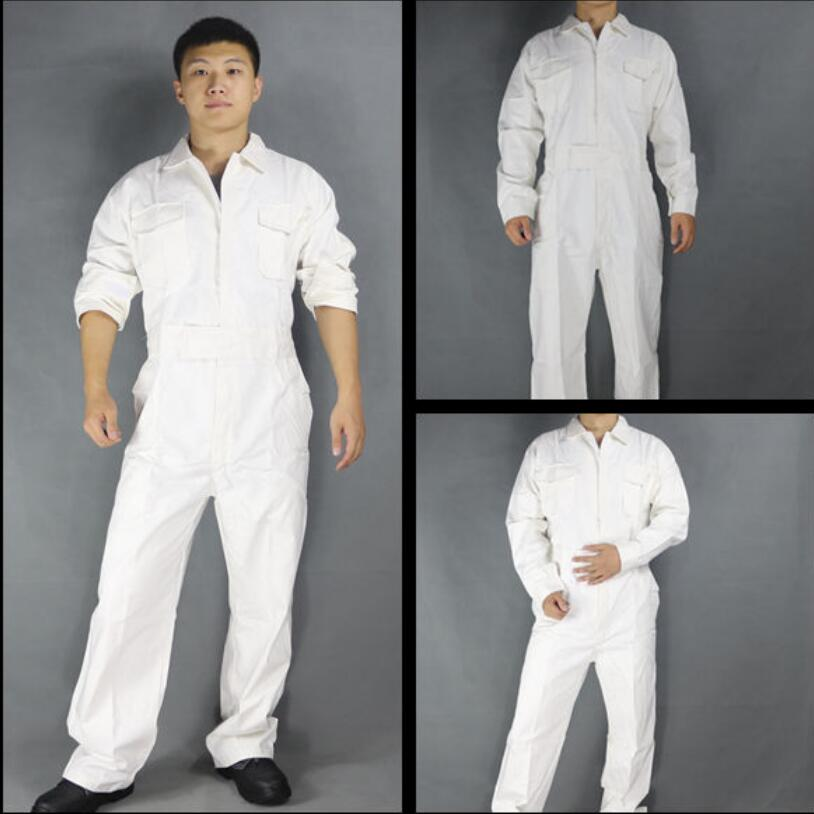 Men's Cotton Jumpsuits One-piece Tide Men's Tooling White Work Overalls Long Sleeve Working Coveralls Workwear Repairman XS-3XL