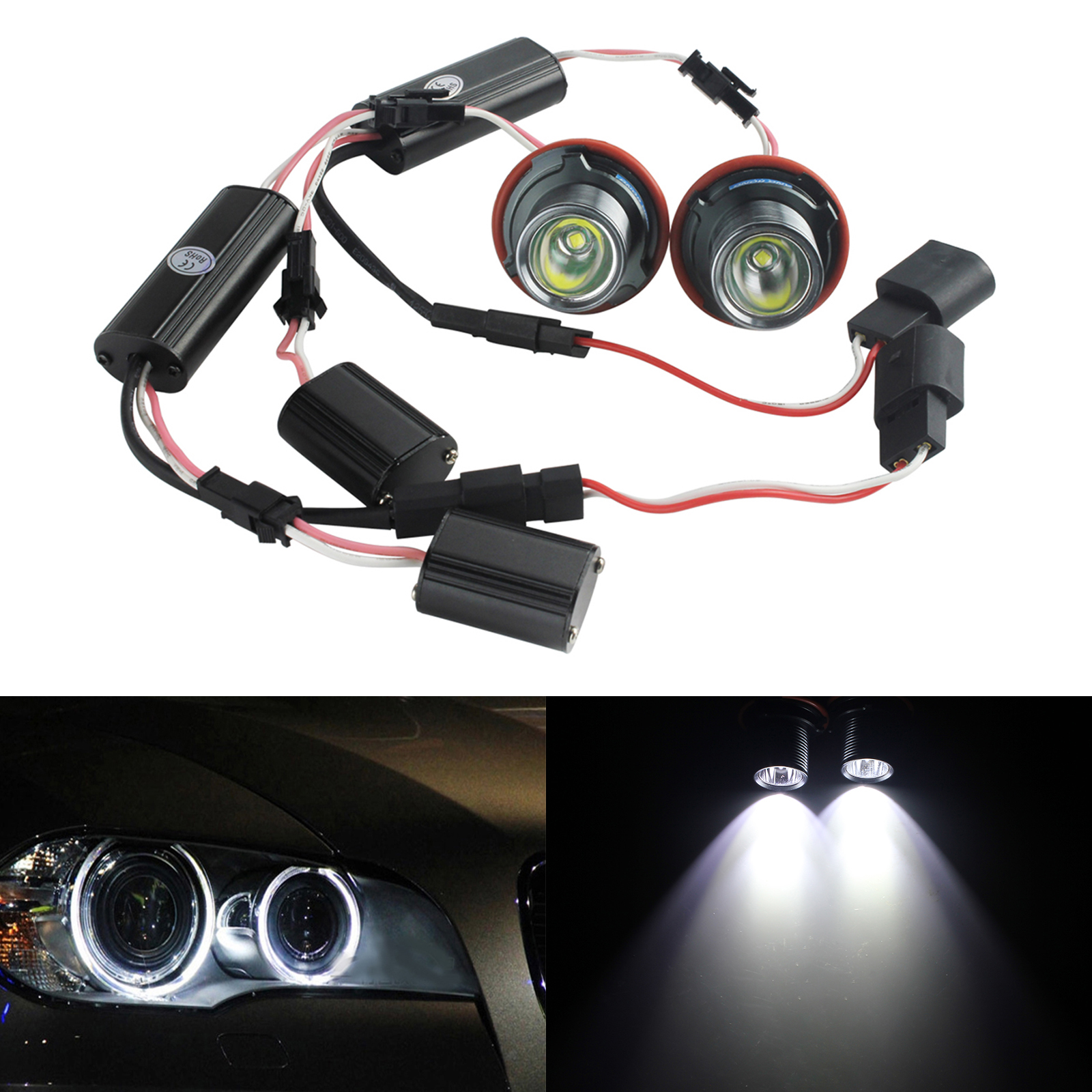 ANGRONG 2X White LED Marker Angel Eyes Halo Ring Xenon Light Bulb For BMW 20W Canbus Error Free
