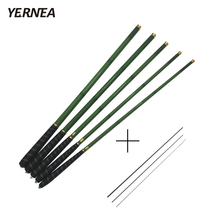 Yernea Carbon Fiber Fishing Pole Ultra-light Carp Rod Green Telescopic Fishing Rod 3.6M 4.5M 5.4M 6.3M 7.2M+3 Spare Top Tips
