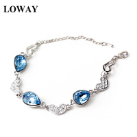 LOWAY Fashion Chain Link Heart Shaped White Color Blue Crystal Wholesale Bracelet Pulseras Mujer SZ3817