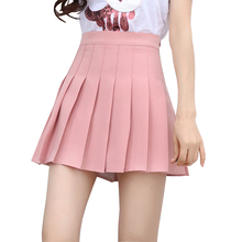 8bc40d166b82 High waisted pleated mini skirt 2018 summer preppy school girl pink solid  color ulzzang womens short