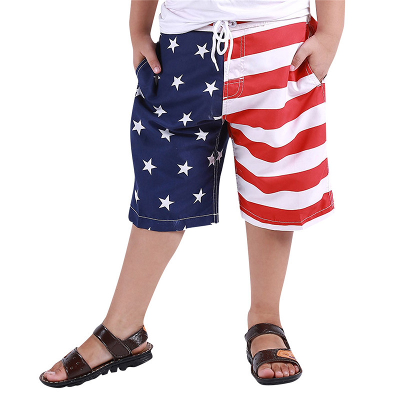 (4y-16y) Summer Beachwear Boy Kid Children Swim July 4th Trunk American Flag Swimwear Shorts Usa Swimtrunk 30ap18 Be Shrewd In Money Matters